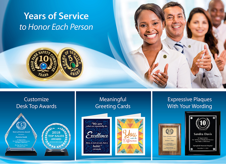 Years of Service Lapel Pins, Pens, Plaques and Key Rings ...
